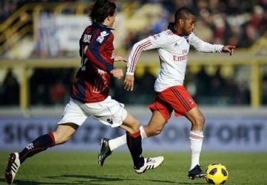 a.c. milan's robinho wearing adidas adizeros against bologna.
