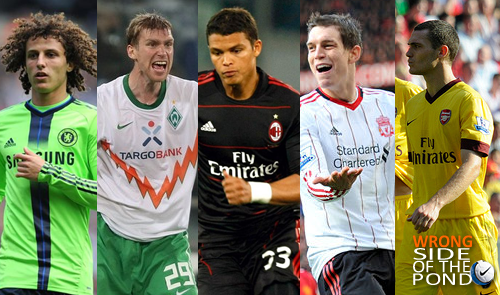 david luiz, per mertesacker, thiago silva, daniel agger and thomas vermaelen