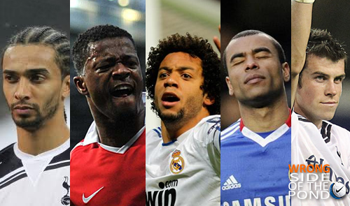 benoit assou-ekotto of tottenham, patrice evra of manchester united, marcelo of real madrid, ashley cole of chelsea, gareth bale of tottenham