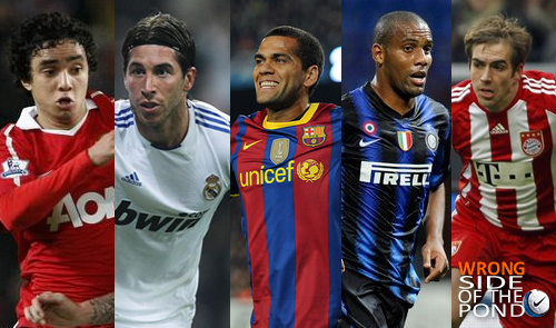 best XI right back: rafael, sergio ramos, dani alves, maicon and lahm