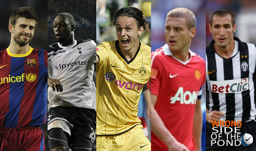 gerard pique, ledley king, neven subotic, nemanja vidic, and giorgio chiellini