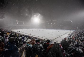 A full shot of Dick's Sporting Good Park in all it's snowy glory.