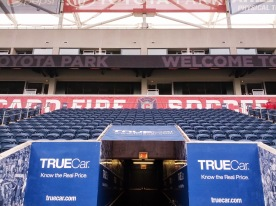 Looking back up the tunnel at the East stand of Toyota Park.