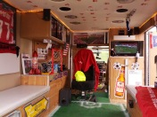 Inside the awesome Fire ambulance at the Section 8 Tailgate.