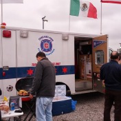 An awesome ambulance decked out in Fire paraphernalia at the Section 8 Tailgate.