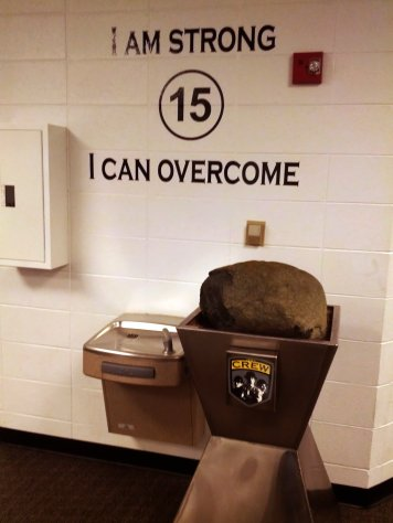 Legend has it that Lamar Hunt himself found this rock that sits in the locker room by a small memorial to Kirk Urso.