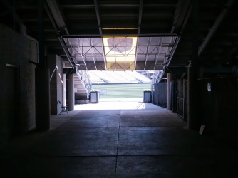 Looking down the tunnel towards the pitch.