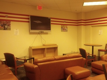The player's break room is a great place to lounge about or grab a meal on match and training days.