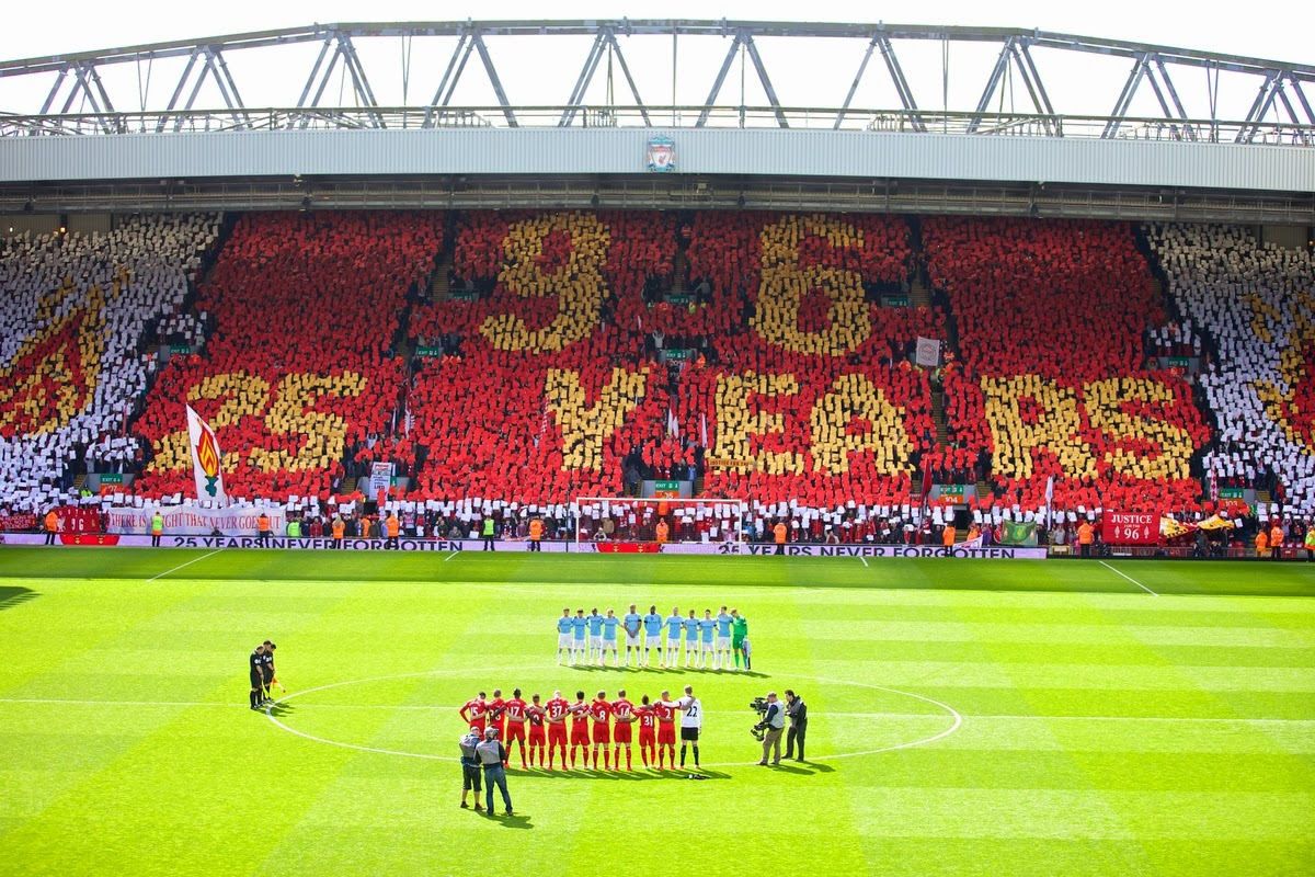 Anfield Kop on the 25th Anniversary of the Hillsborough Disaster
