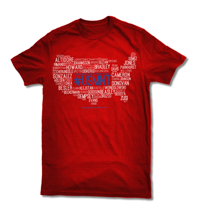 Featuring the name of every player that helped the USMNT qualify for the 2014 World Cup, this design proved to be one of our most popular shirts ever.