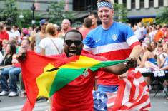 Ghanaian representation also made it out to the square to watch.