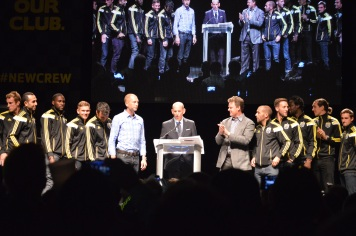 The players made it out on stage, followed shortly after MLS Commissioner Don Garber.