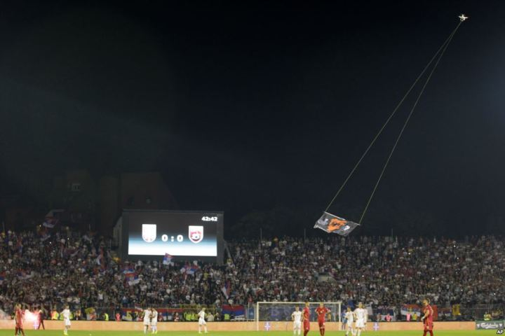 Drone at Serbia v Albania Euro 2016 Qualifier