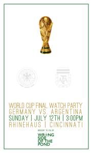 I frequently host watch parties at Rhinehaus in Cincinnati -- here's the digital poster for the 2014 World Cup Final.