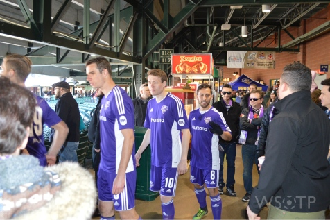 Uniquely, the Louisville City players walk across the main concourse on their way down to the pitch.