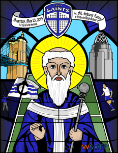 I committed to creating match posters for each of the 2015 NPSL home games for the Cincinnati Saints. My first was a design based on the many stained glass windows found in Cincinnati's churches.