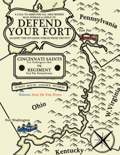 The second Cincinnati Saints match poster of the 2015 NPSL season for the game against Ft. Pitt Regiment featured a rustic map design.