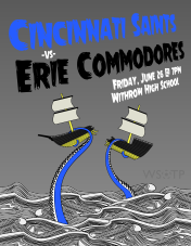 The fifth Cincinnati Saints match poster of 2015 was for the match against the Erie Admirals... who the Saints were able to sink by a score of 2-0.