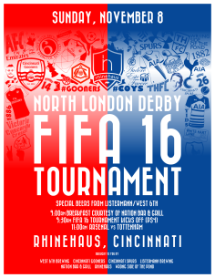 Along with the local supporters chapters, WSOTP hosted a FIFA 16 Tournament for the North London Derby.
