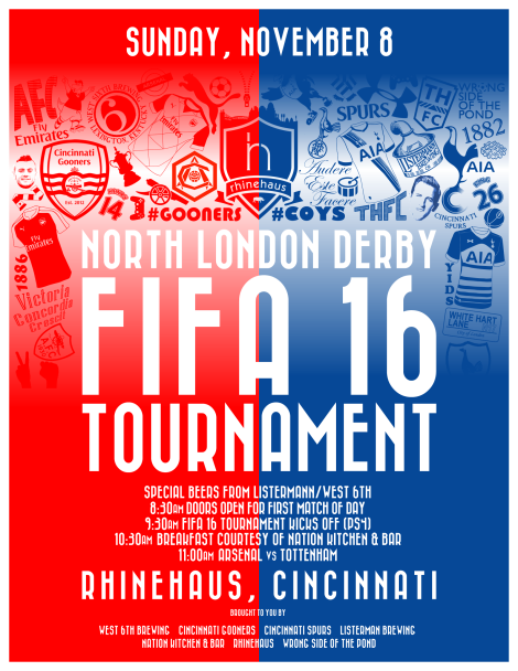 We sponsored our first-ever FIFA Tournament alongside the Cincinnati Gooners, Cincinnati Spurs and Rhinehaus.
