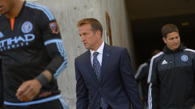 New York City FC coach and former Real Salt Lake player Jason Kreis takes the field before the team's MLS soccer game against Real Salt Lake, Saturday, May 23, 2015, in Sandy, Utah. (Leah Hogsten/The Salt Lake Tribune via AP)